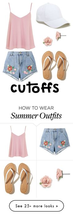 """""""Denim Short Outfit #5"""" by gabby-a-j on Polyvore featuring Topshop, House of Holland, Hollister Co., 1928 and Sole Society"""