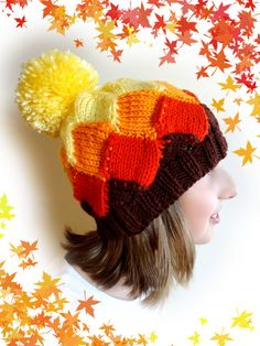 Knit Hat. Bright Autumn Colors. Yellow Orange Red by VividBear
