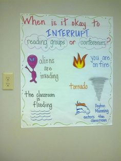 I created this chart to stop all of the interruptions that I have been putting up with during Reader's Workshop. My students thought it was funny.