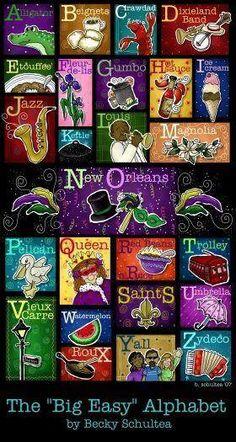 "The ""Big Easy"" Alphabet Just Bee 'n Me: Illustration Friday Louisiana Art, Louisiana Homes, New Orleans Louisiana, New Orleans Saints, Louisiana Creole, Louisiana History, Mardi Gras, New Orleans Art, Good Times Roll"