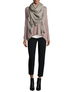 Long-Sleeve Handkerchief-Hem Wool Top, Sleeveless Silk Shell & Fringed Scarf with Metallic Trim by Peserico at Neiman Marcus.