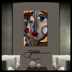 Original Abstract painting Modern Whimsical eyes HUGE Canvas WALL Art Fidostudio #UrbanArt