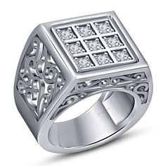 0.99 Ct Round Simulated Diamond Men's Engagement Band Ring With Pure 925 Silver  #tvsjewelery #EngagementBandRing #EngagementAnniversaryPromiseValentines