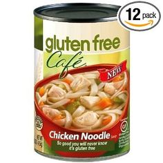 Gluten Free Cafe Chicken Noodle Soup, 15-Ounce Cans.  When you are too sick to make it yourself!