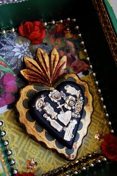 Sacred Heart milagro Cigar box shrine shadow box by TheVirginRose