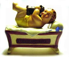 Rockabye Baby Salt And Pepper Shakers, Baby And Cradle, Japan 1950s