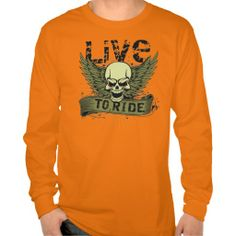 Live To Ride Skull Wings Long Sleeve T-shirt