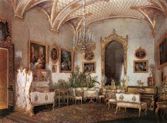 The Small Drawing Room. The Suite of Empress Alexandra Feodorovna at the Winter Palace in Saint Petersburg. Depicted in gouache by court painters c. 1850