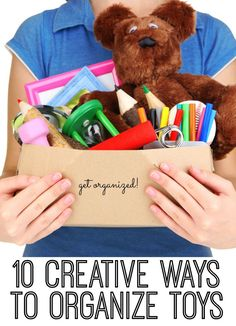 Are there toys everywhere in your house? Here are 10 creative ways to organize toys! You'll never believe how we're using outdoor planters - or magnetic knife strips! Love these!