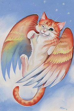 Angel Cat 5 - Clouds and Whiskers pieces) Gato Angel, I Love Cats, Cute Cats, Dachshund, Image Chat, Artist Portfolio, Cat Drawing, Pet Memorials, Mythical Creatures