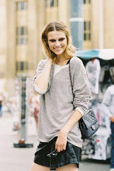 Model Martha Streck by Vanessa Jackman, Paris Fashion Week A/W 12-13, striped sweatshirt, black leather shorts, Chanel