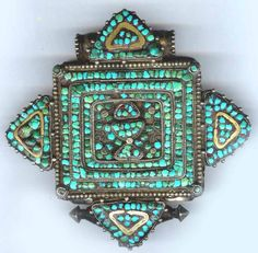 gau, turquoise with inlaid brass into silver, Tibet 19th c