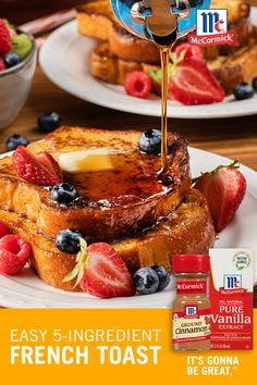 Vanilla extract and cinnamon bring a richness of flavor when making French toast. Pick your favorite bread - white, Italian, French, or whole wheat and serve with our Easy Spiced Syrup for a tasty French toast recipe. Learn how to make French toast today! Breakfast Dishes, Breakfast Recipes, Mexican Breakfast, Breakfast Sandwiches, Breakfast Pizza, Breakfast Ideas, Instant Pot, Keto, Brunch Recipes