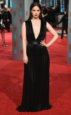 Heida Reed from 2016 BAFTA Film Awards: Celebrity Arrivals  The actress and model wears a plunging black gown.