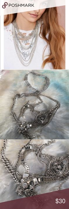 """#1249 nasty gal  Make 'em do a double take in this awesome silver necklace features layers and layers of hanging crystals and chains. Hinge clasp closure. Looks great paired with a simple dress!  *11.5""""/29.25cm length  *Imported Nasty Gal Jewelry Necklaces"""