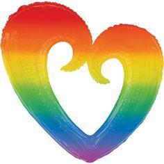 Giant Rainbow Open Heart Balloon 30in x 32in | Party City