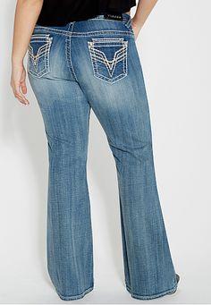 vigoss ® plus size bootcut dark wash jeans - maurices