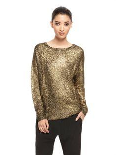 Matt gold foil printed sweat - Foil Printed Long Sleeve Crewneck Pullover - DKNY