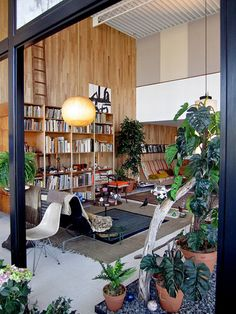 Loft-like living room of the Charles and Ray Eames house of 1949