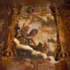 Oenemastate Heerenveen, The Netherlands. Interieur begane grond, achterzijde rechts (Zaal), plafondschildering. Mars in zijn stijdwagen omgeven door putti.