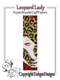 Leopard Lady - Peyote Bracelet Cuff Pattern de DebgerDesigns sur DaWanda.com