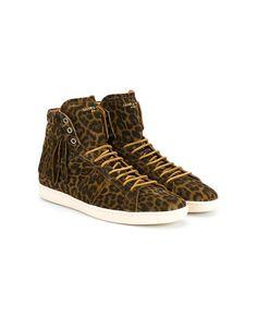 SAINT LAURENT Leopard Print Suede Hi Top Sneakers
