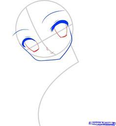 how to draw an anime face, anime face step 4