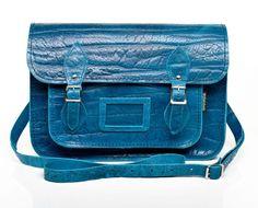 Blue Elephant Print Leather Satchel
