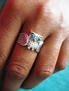 I WANT IT!!! Vintage Sterling Silver Turquoise Owl Ring sz 8 by StudioLaTouche