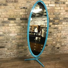 Nigel Coates Mirror at D and A Binder | We have a range of fabulous mirrors at Binder's! This gorgeous designer mirror is designed by Nigel Coates and is a perfect bedroom retail or dressing room mirror. It has a beautiful blue colour and would fit a large range of interiors. Email us at david@DandABinder.co.uk to hear more about specific mirrors and check out DandABinder.co.uk to see our range of mirrors online.  #Decorative #Decoration #Mirrors #Mirror #Decor #Interiors #Interior #Antique…