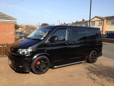 Black alloys on black van - VW Forum - VW Forum Vw Transporter Sportline, Vw Transporter Campervan, Vw T5 Forum, Day Van, Vanz, Cool Vans, Van Interior, Black Vans, Black Wheels