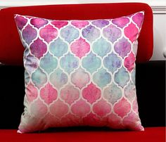 Girls Pink Multi Coloured Damask Cushion Cover x Make Your Mark, Beautiful Space, Damask, Decorative Items, Pink Girl, Nursery Decor, Baby Shower Gifts, Mosaic, Cushions
