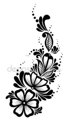Krásný Květinový Vzor, designový Prvek Ve Starém Stylu Royalty Free Kliparty, Vektory A Ilustrace. Tattoo Henna, Henna Mehndi, Henna Art, Stencil Patterns, Stencil Art, Stencil Designs, Rose Stencil, Hand Embroidery, Embroidery Designs