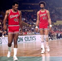 Scott May (No. and Artis Gilmore walk onto the court during a 1976 Celtics-Bulls game. Gilmore is celebrating his birthday on Friday. (Dick Raphael/NBAE via Getty Images) SI VAULT: Switch to fast break has Gilmore, Colonels looking good Bulls Basketball, Basketball Legends, Basketball Players, Basketball Jones, 92 Dream Team, Sports Stars, Sports Uniforms, Summer Games, Basketball