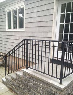 Remarkable outdoor stair railing atlanta for your cozy home Exterior Stair Railing, Outdoor Stair Railing, Patio Stairs, Wrought Iron Stair Railing, Balcony Railing Design, Concrete Stairs, Staircase Design, Iron Railings, Porch Handrails