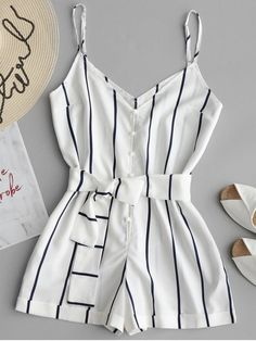 52f114ec5b4 Striped Belted Cami Romper - WHITE L  ZAFUL  Romper  striped Cute Summer  Outfits