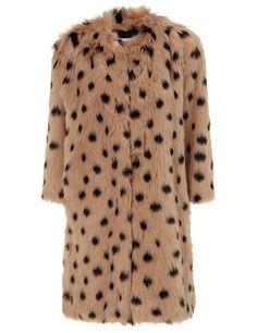 Caramel Spot Faux Fur Coat Ainea