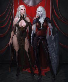 Valudine and Ninthel alternative version by darkopalescence on DeviantArt Fantasy Female Warrior, Fantasy Women, Fantasy Girl, Dungeons And Dragons Characters, Fantasy Characters, Female Characters, Fantasy Castle, Medieval Fantasy, Beautiful Fantasy Art