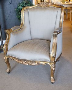 French Style Gold Gilt Library Chair Silk - Buy from the French Furniture Specialist Classic Home Furniture, French Furniture, Home Decor Furniture, Sofa Furniture, Furniture Design, Living Room Sofa Design, Living Room Decor, Drawing Room Furniture, Victorian Living Room