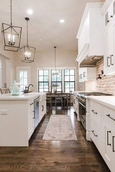 Extraordinary Kitchen Remodeling Planning and Ideas Kitchen Remodeling Trends white kitchen // exposed brick // white cabinets // industrial modern farmhouse kitchen Industrial Farmhouse Kitchen, Modern Farmhouse Kitchens, Home Kitchens, Kitchen Modern, Farmhouse Kitchen Light Fixtures, Farmhouse Style, French Kitchen, Farmhouse Ideas, Rustic Farmhouse