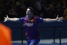 Luis Suarez celebrating goal |  2015 Champions League Final, Berlin, 6 June 2015: Juventus 1 - FC Barcelona 3