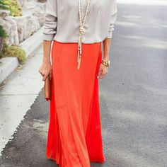 Orange Maxi Skirt Smoke free, pet free home!  Fold over waist, only wore once, perfect like-new condition! Perfect maxi for a spring day!  Cover photo is not the actual skirt, just used for styling purposes. Skirts Maxi