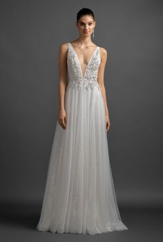 Style 3902 Alma Lazaro bridal gown - Ivory ombre sparkle net A-line bridal  gown 102e368b380c