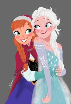 Elsa and Anna by Nyamö #disney #frozen #fanart