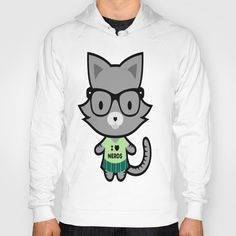 I Heart Nerds Kitty Hoody by Amber Galore Design - $38.00