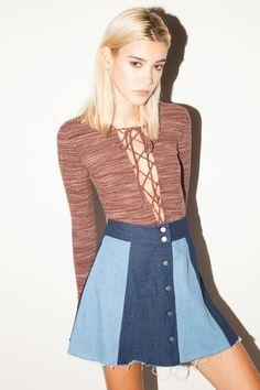The Revolution Color Blocked Denim Skirt