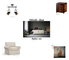 """blinds shut//lights on"" by na-designs ❤ liked on Polyvore featuring interior, interiors, interior design, home, home decor, interior decorating, Pottery Barn, H&M and Harper Blvd"