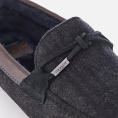 5a59f0acd37 Ted Baker Men's Pytre Textile Checked Moccasin Slippers - Dark Grey