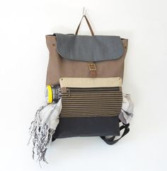 UniSex Choco Brown Canvas Backpack / laptop bag / by BagyBag, $95.70
