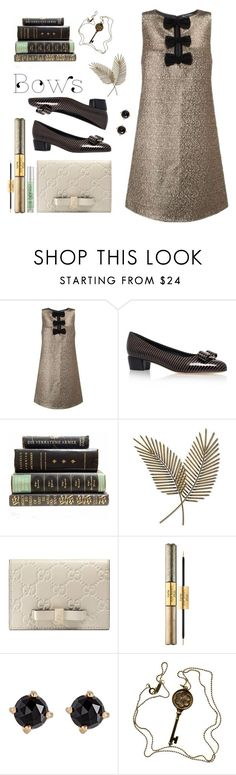 """Bows II"" by susli4ek ❤ liked on Polyvore featuring Miss Selfridge, Salvatore Ferragamo, Artisan House, Gucci, tarte, Irene Neuwirth, Tiffany & Co. and Urban Decay"
